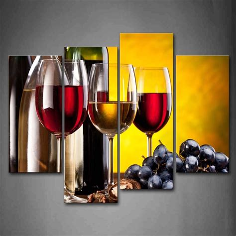 decor painting 4 piece frame modern kitchen canvas paintings red wine cup