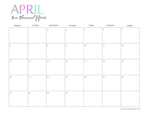 April Calendar 2015 Free 2015 Printable Calendar By Shiningmom And