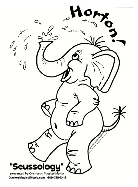 coloring pages horton the elephant horton free colouring pages