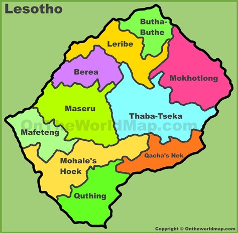 lesotho map administrative divisions map of lesotho