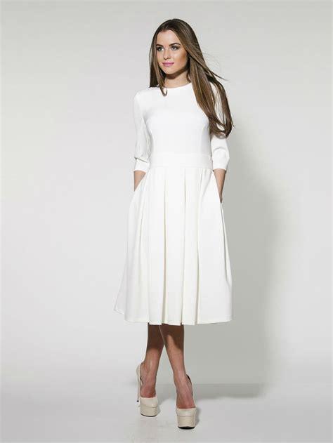elegant white midi dressformal pleated wedding gown woman