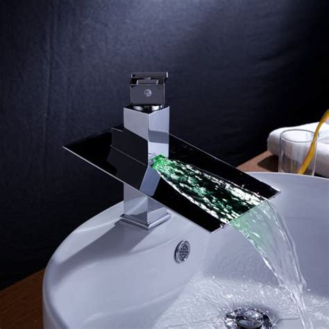 fountain faucets for the bathroom single handle waterfall color changing bathroom countertop