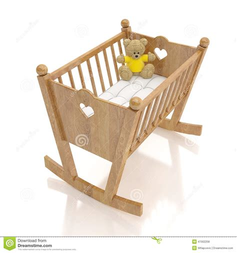 culle bambino di legno bambino con il giocattolo dell orso