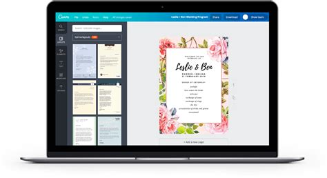 canva software free online wedding program maker design a custom wedding