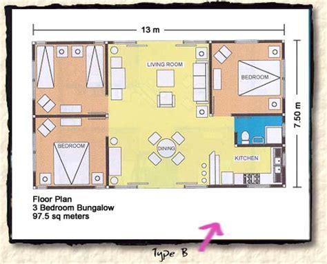 floor plan for 3 bedroom bungalow floor plans for sambolo bungalows in banten