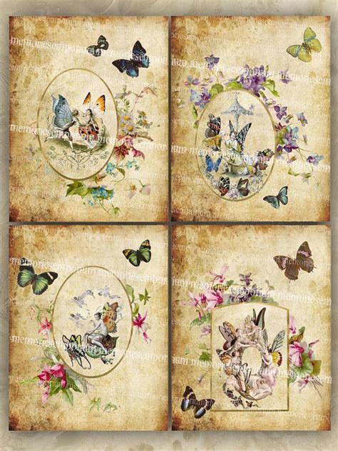 Antique Decoupage - butterfly clipart shabby chic decoupage antique flower