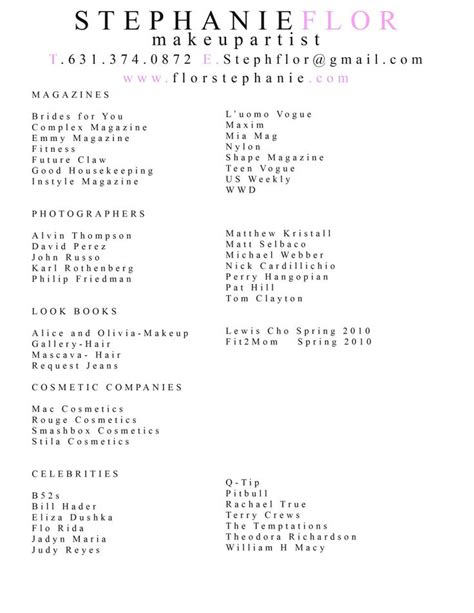 makeup artist resume samples best of artist resume sample from 5