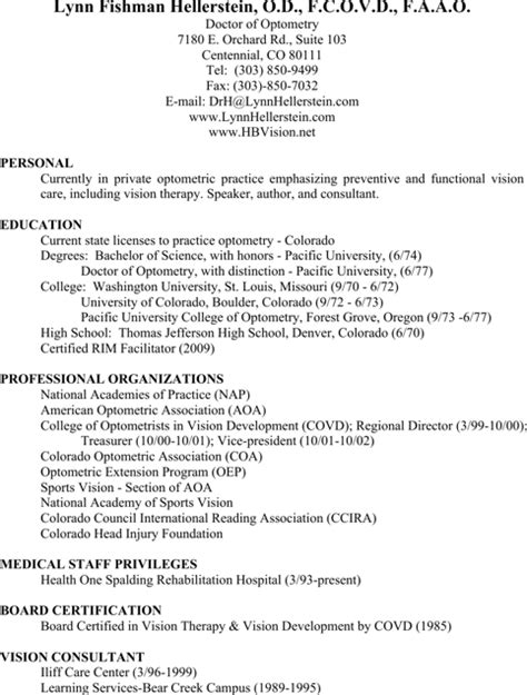 optometrist resume templates for free formtemplate