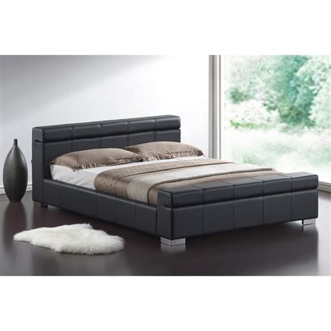 Black Sleigh Bed Frame Black Cubed Sleigh Faux Leather Bed Frame King Size 5ft
