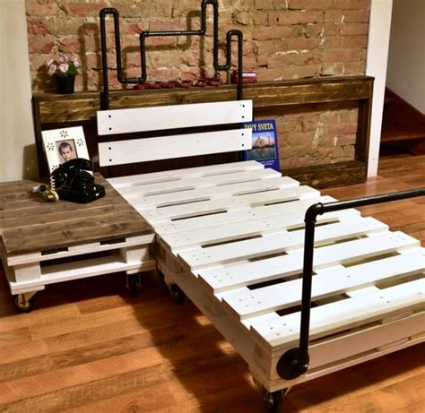 wood pallet bed reclaimed wood pallet bed with pipes pallet ideas