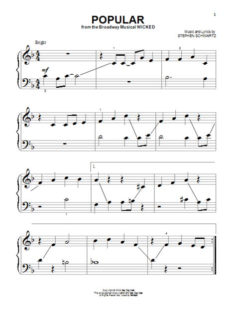 printable lyrics popular wicked popular from wicked sheet music by stephen schwartz