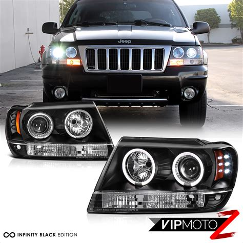 jeep black headlights 1999 2004 jeep grand wj wg black led halo