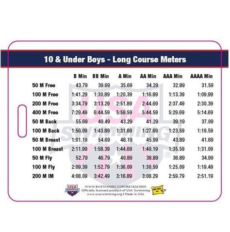 usa 2017 2021 swimming time standards bag tag