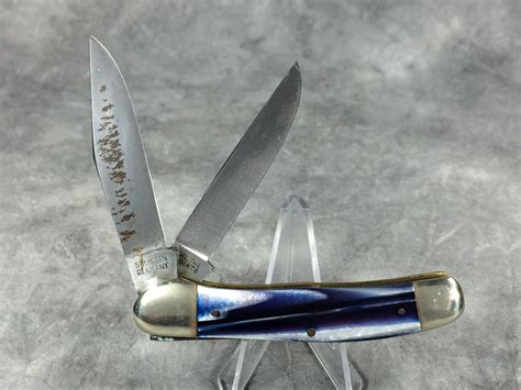 Creek Handmade - buck creek handmade blue white 2 blade copperhead pocket knife