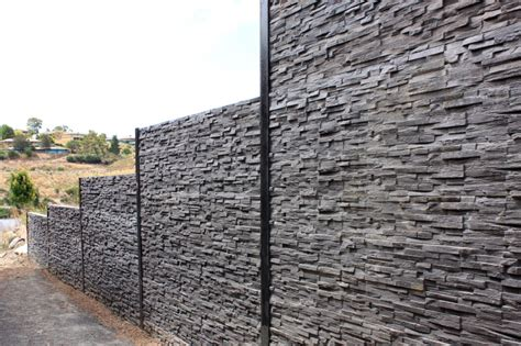 Stacked Concrete Sleepers by 1000 Images About Fence Ideas On Fence