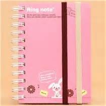 Lian Stripe Band Small Wallet Pink kawaii pink rabbit mini ring binder notebook from japan