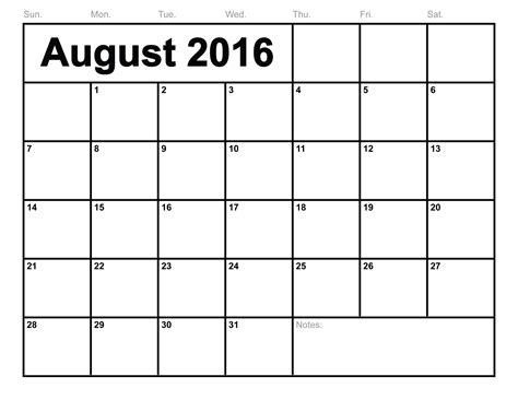 Calendã Pis 2016 August 2016 Calendar Printable Template 6 Templates