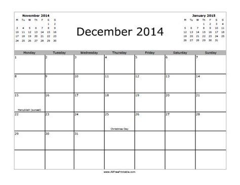 printable december month calendar 2014 december 2014 calendar free printable allfreeprintable com