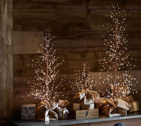 white berry tree lights lit white berry trees pottery barn o holy