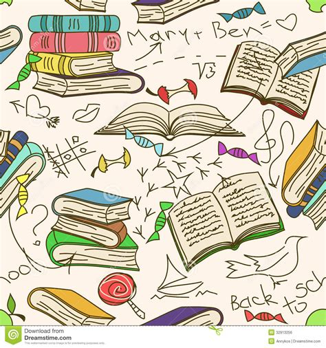 doodle drawing book doodle seamless pattern of books and children stock vector