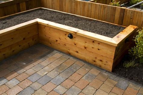 Patio With Raised Beds by Seattle Paver Patios Paver Walkways Brick Patios Ecoyards
