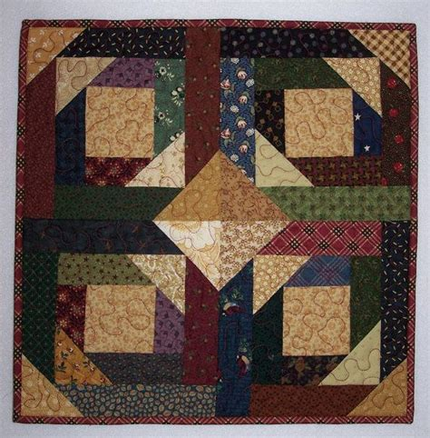 Pineapple Patchwork Pattern - pineapple log cabin patchwork quilt wall hanging in