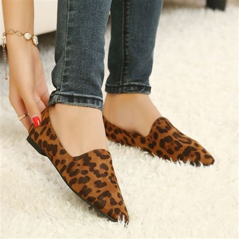 comfortable going out shoes leopard print flats brown slip on comfortable shoes for