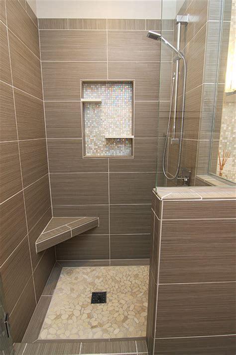 shower  gray tile bench  beachstone floor