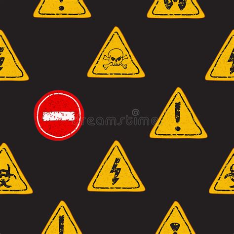 yellow warning pattern seamless vector pattern of yellow warning signs stock