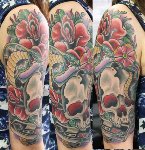 electric rose tattoo skull nintendo snake