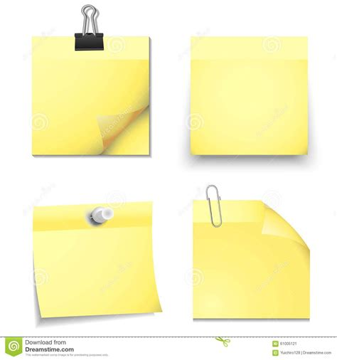 eps format office yellow sticky blank notes with office supplies stock