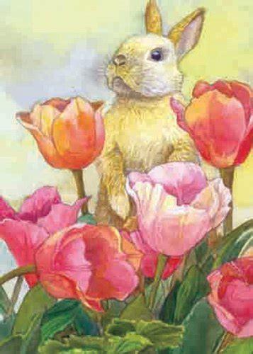Toland Home Garden Welcome Bunny Toland Home Garden Bunny Tulip 12 5 X 18 Inch Decorative