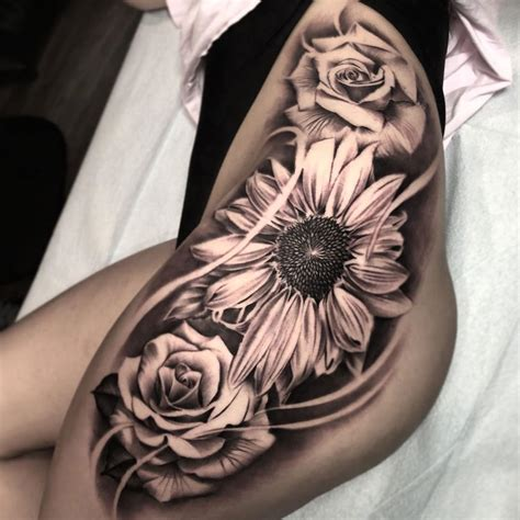 sunflower and rose tattoo sunflower roses s hip best design