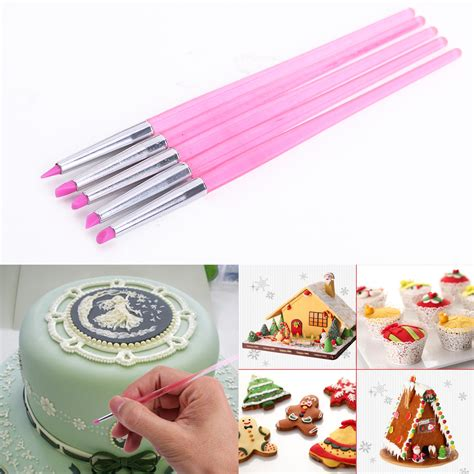 5 cake decorating silicone icing brush pen tools for