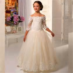 Girls Dresses For Weddings New 2016 Half Sleeve Lace Flower Girls Dresses For Weddings Ball Gown Appliques Ivory Color