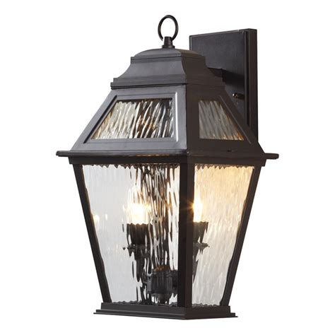 Hton Bay Lighting Fixtures Hton Bay 2 Light Rubbed Bronze Led Decorative Water Glass Outdoor Lantern With Fixed