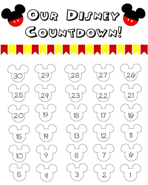 Disney Countdown Calendar 10 Printable Disney Countdown Calendars Baby