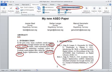 microsoft word harvard citation and bibliography styles in