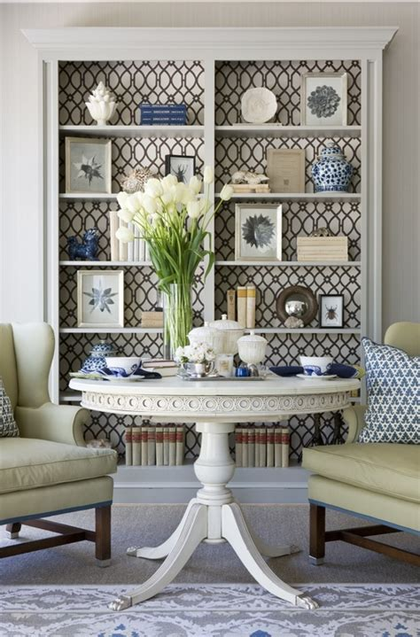 add whimsical wallpaper to your bookcase design dwell