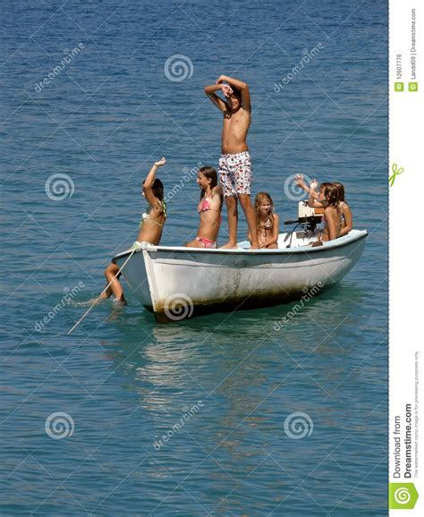 Cildren Boat six children on boat stock photo image of greetings 12607776