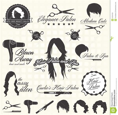 retro vintage style icon collection stock illustration vector set retro hair salon labels and icons royalty free