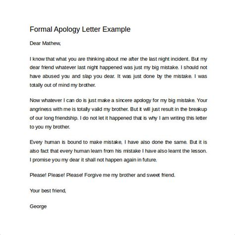 Formal Apology Letter To For Mistake Sle Formal Apology Letter 7 Free Documents In Word Pdf