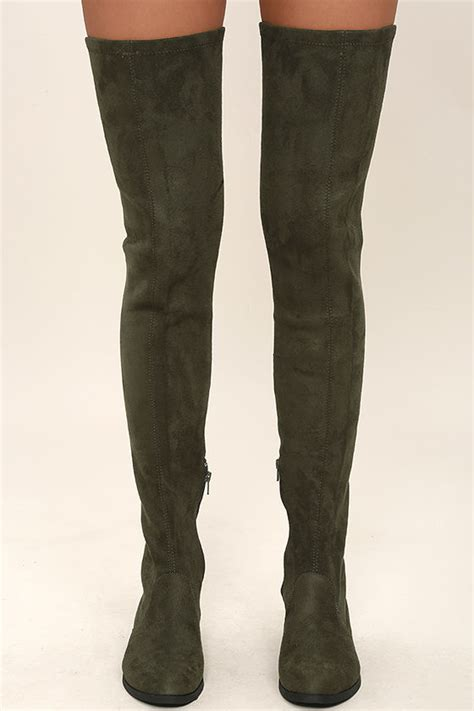 lfl rank boots thigh high boots green vegan suede otk