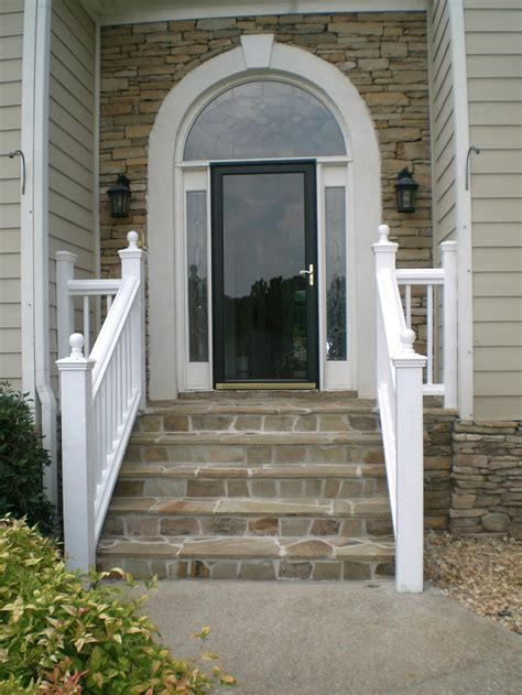 front entry hand rails and stone steps flagstone pinterest
