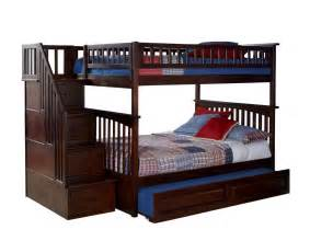 Bunk Bed With Storage Stairs Staircase Bunk Bed With Stairs Storage Stairway Walnut Finish Ebay