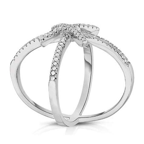 skusky 18k white gold plated micropave crossover ring