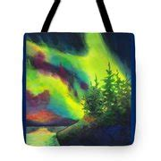totebag electric green electric green in the sky 2 painting by kathy braud