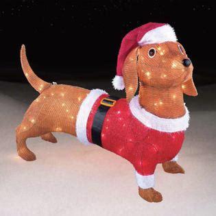 dachshund christmas lights 26 quot santa daschund decoration with 100 lights kmart