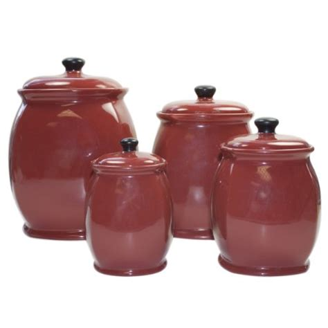 red kitchen canister sets ceramic 4 piece red canister sets for kitchen storage red
