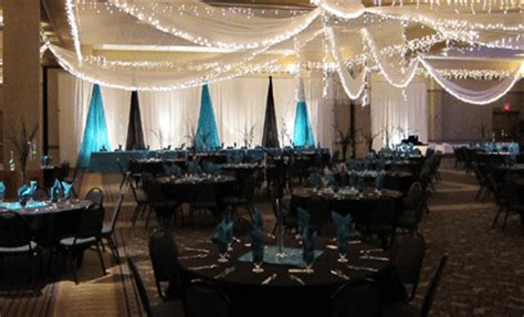 turquoise and black reception decor decorations